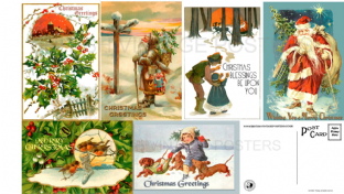 Vintage Christmas Postcards - Pack of 6